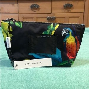Black & Floral/Parrot Print Small Cosmetics Bag